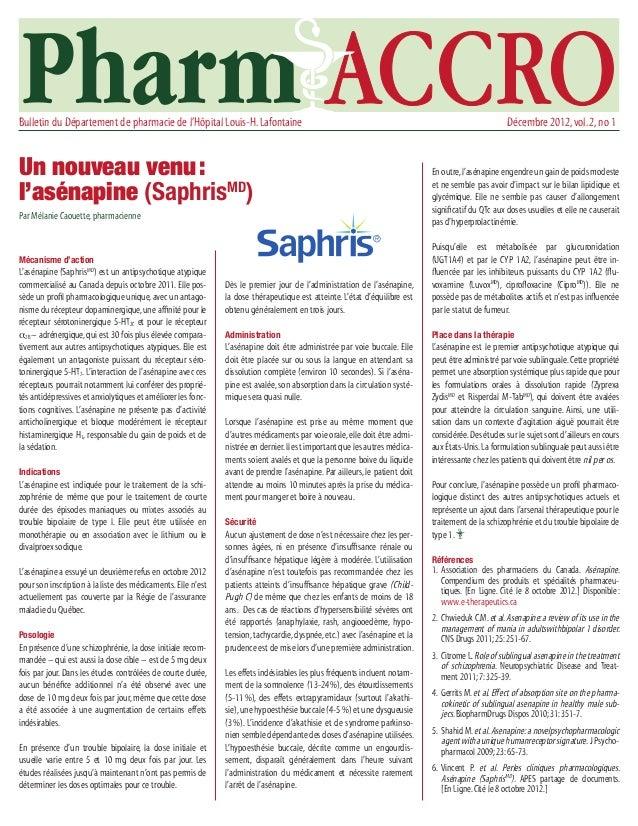 Bulletin du Département de pharmacie de l'Hôpital Louis-H. Lafontaine                                                    ...