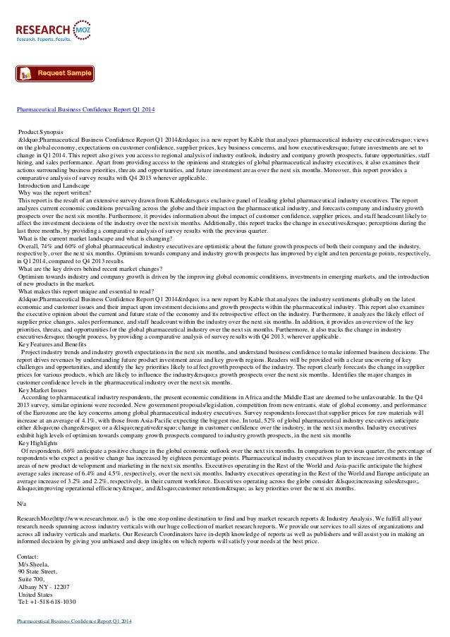 """Pharmaceutical Business Confidence Report Q1 2014  Product Synopsis """"Pharmaceutical Business Confidence Report Q1 20..."""