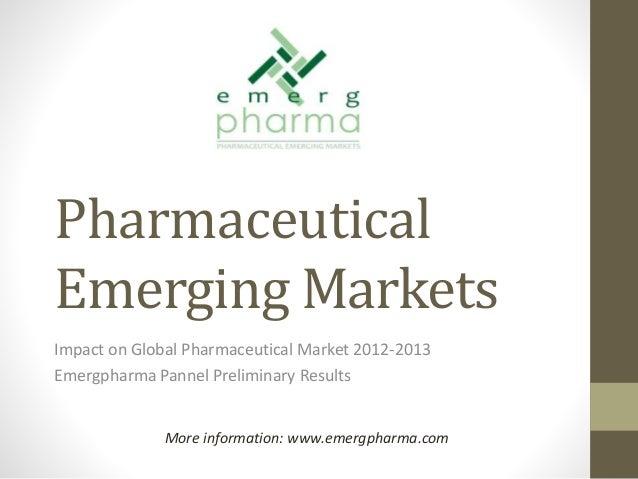 Impact of Emerging Markets in Global Pharma 2013 and role of Top 12 Pharma