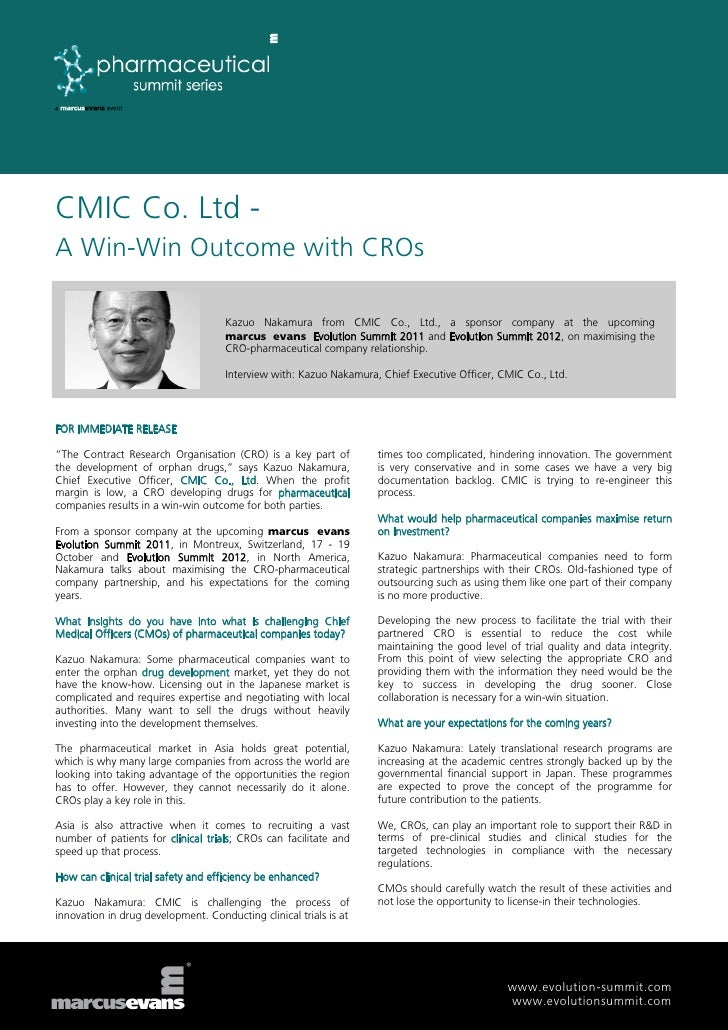 CMIC Co. Ltd -A Win-Win Outcome with CROs                                    Kazuo Nakamura from CMIC Co., Ltd., a sponsor...