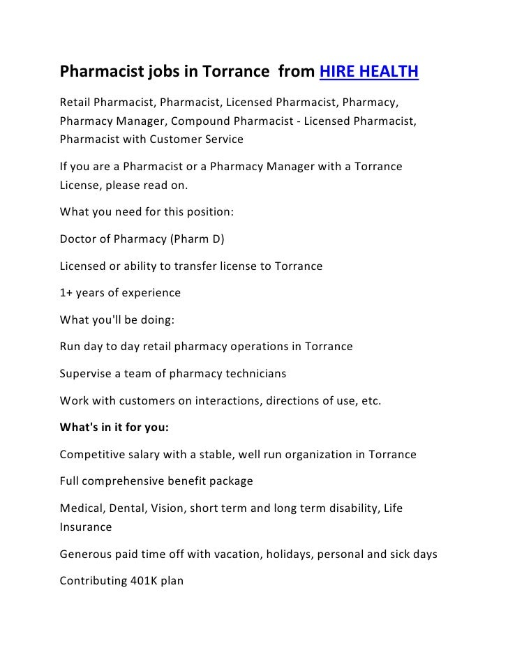 Pharmacist jobs in torrance
