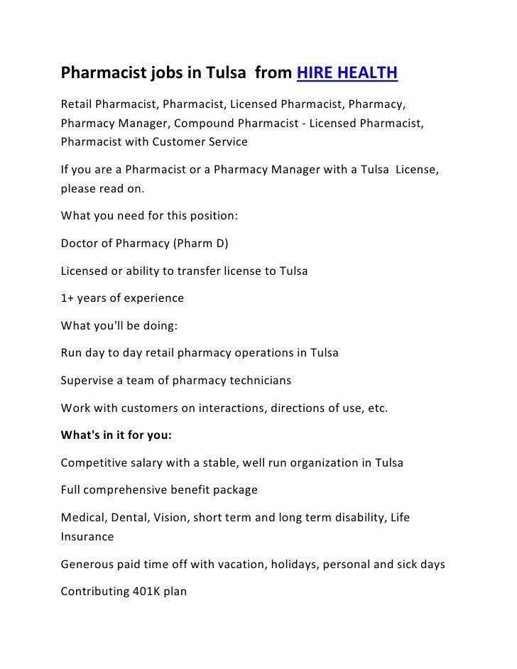 Pharmacist jobs in Tulsa  from HIRE HEALTH<br />Retail Pharmacist, Pharmacist, Licensed Pharmacist, Pharmacy, Pharmacy Man...