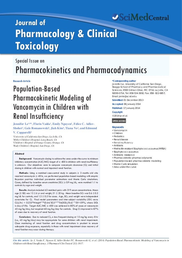 Population-Based Pharmacokinetic Modeling of Vancomycin in Children with Renal Insufficiency