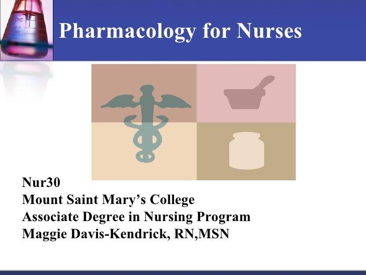 Pharmacology for Nurses Nur30 Mount Saint Mary's College Associate Degree in Nursing Program Maggie Davis-Kendrick, RN,MSN