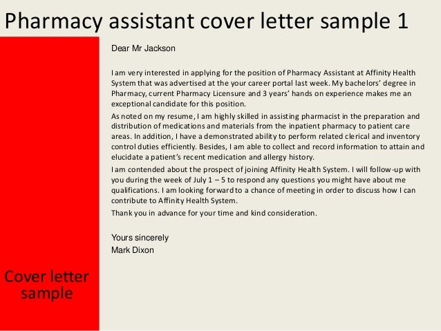 Pharmacy assistant cover letter