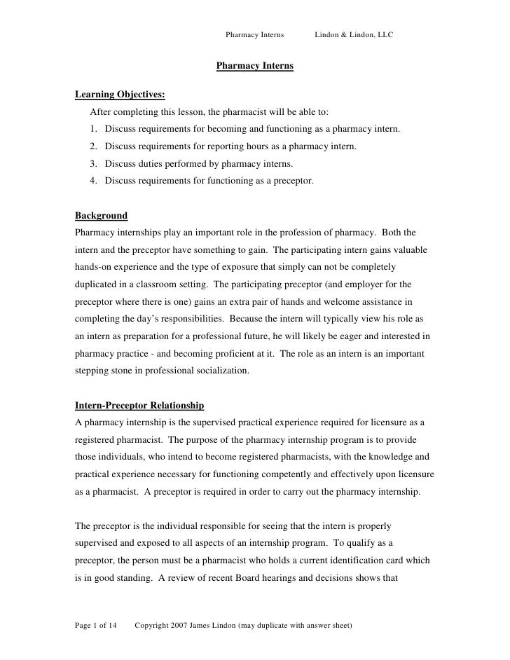 Pharmacy Interns         Lindon & Lindon, LLC                                        Pharmacy Interns  Learning Objectives...