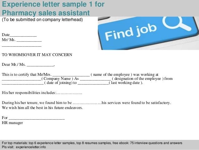 Pharmacy Sales Assistant Experience Letter