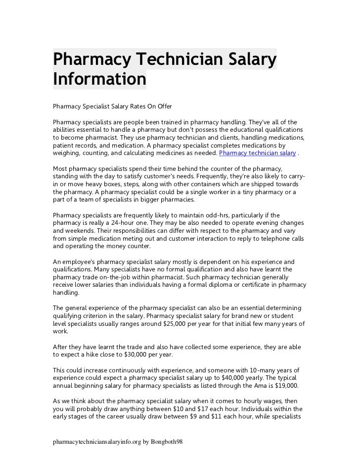 Pharmacy technician salary information