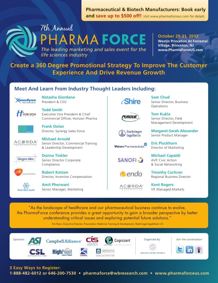 Pharmaceutical & Biotech Manufacturers: Book early                                                     and save up to $500...