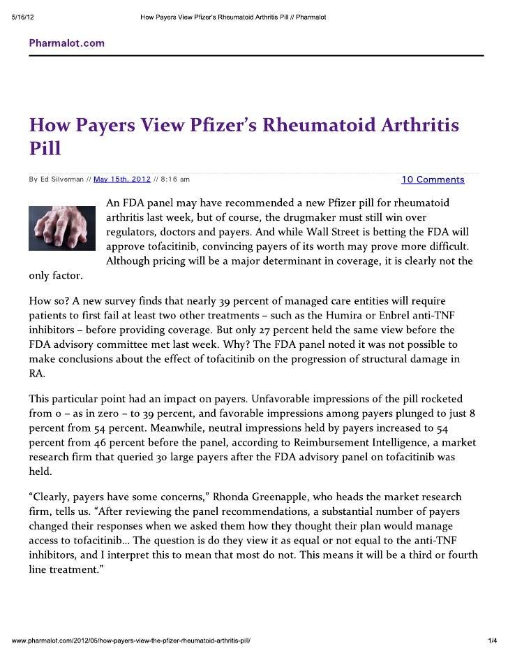 How Payers View Pfizer\'s Rheumatoid Arthritis Pill