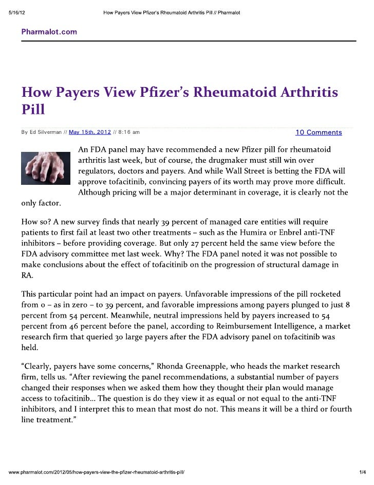 How Payers View Pfizer\'s Rheumatoid Arthritis Pill
