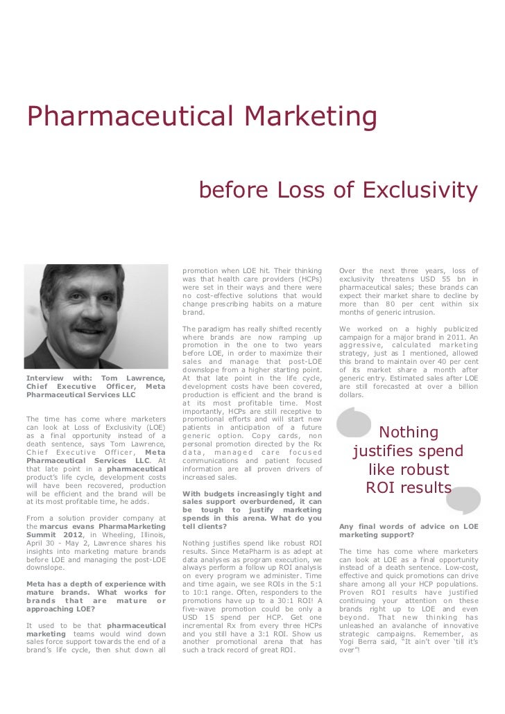 Pharmaceutical Marketing before Loss of Exclusivity - Tom Lawrence, Meta Pharmaceutical Services LLC