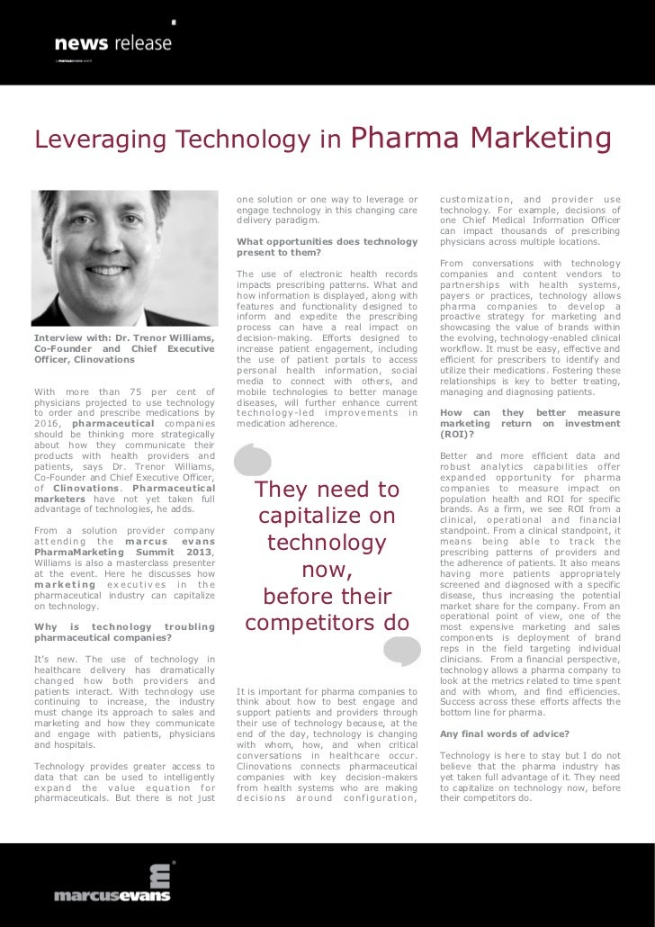 Leveraging Technology in Pharma Marketing - Interview with: Dr. Trenor Williams, Co-Founder and Chief Executive Officer, Clinovations