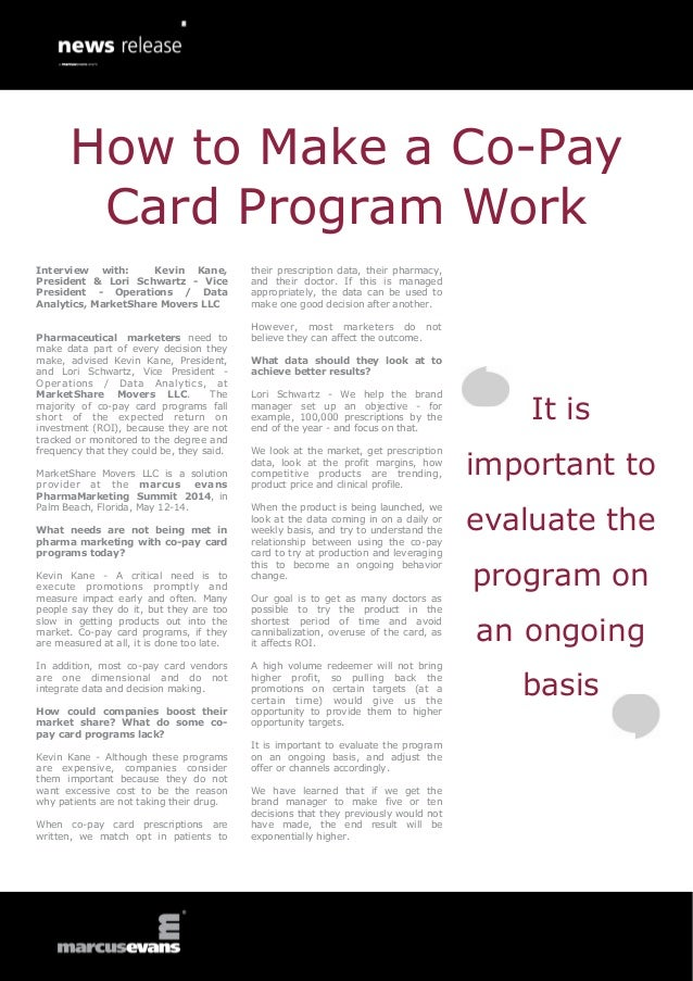 How to Make a Co-Pay Card Program Work - Kevin Kane & Lori Schwartz