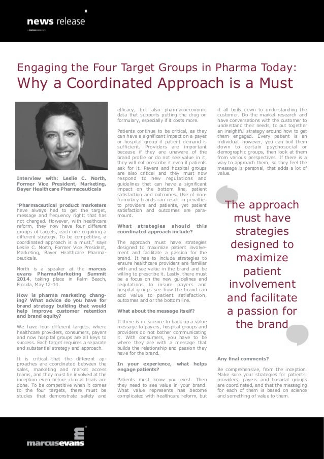 Engaging the Four Target Groups in Pharma Today:  Why a Coordinated Approach is a Must efficacy, but also pharmacoeconomic...