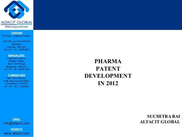 Pharma patent development in 2012