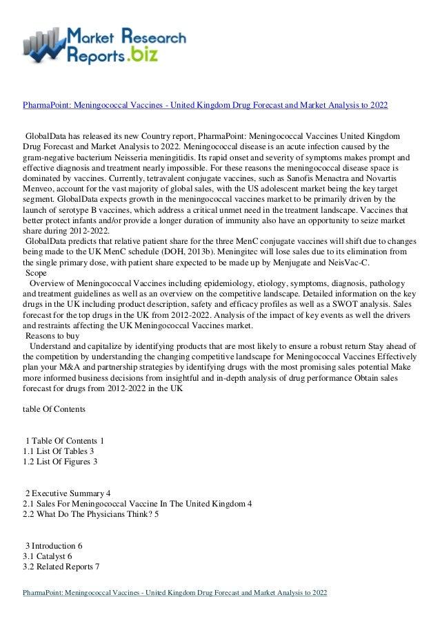 Global Pharmacy: meningococcal vaccines - united kingdom drug forecast and market analysis to 2022