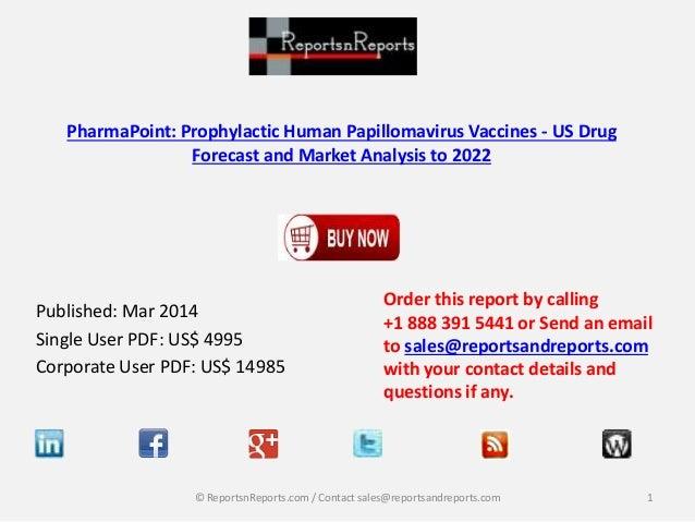 US Drug for Prophylactic Human Papillomavirus Vaccines - Market Analysis to 2022