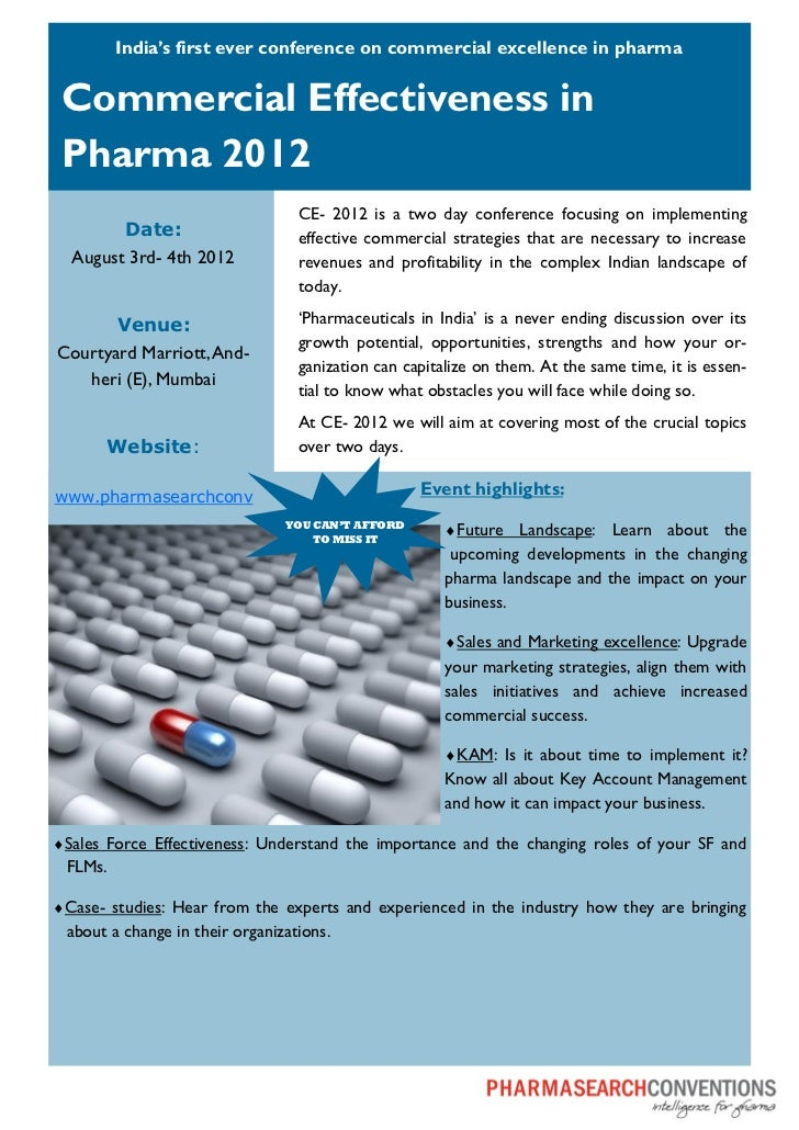 India's first ever conference on commercial excellence in pharma Commercial Effectiveness in Pharma 2012                  ...