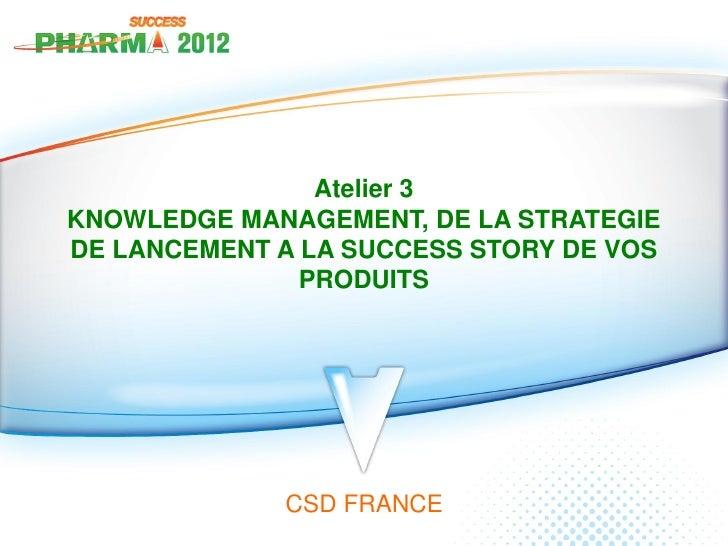 Atelier 3KNOWLEDGE MANAGEMENT, DE LA STRATEGIEDE LANCEMENT A LA SUCCESS STORY DE VOS               PRODUITS             CS...