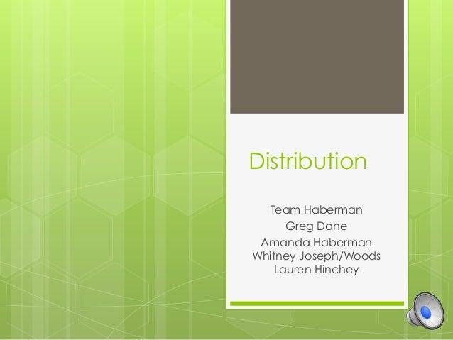 Distribution Team Haberman Greg Dane Amanda Haberman Whitney Joseph/Woods Lauren Hinchey