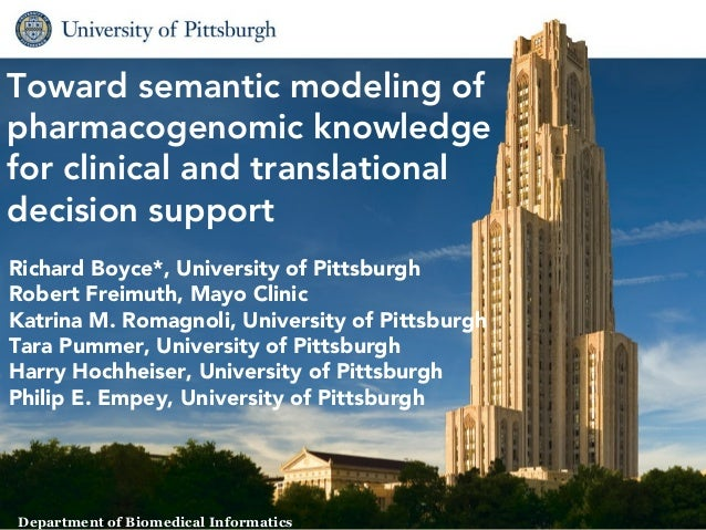 Toward semantic modeling ofpharmacogenomic knowledgefor clinical and translationaldecision supportRichard Boyce*, Universi...