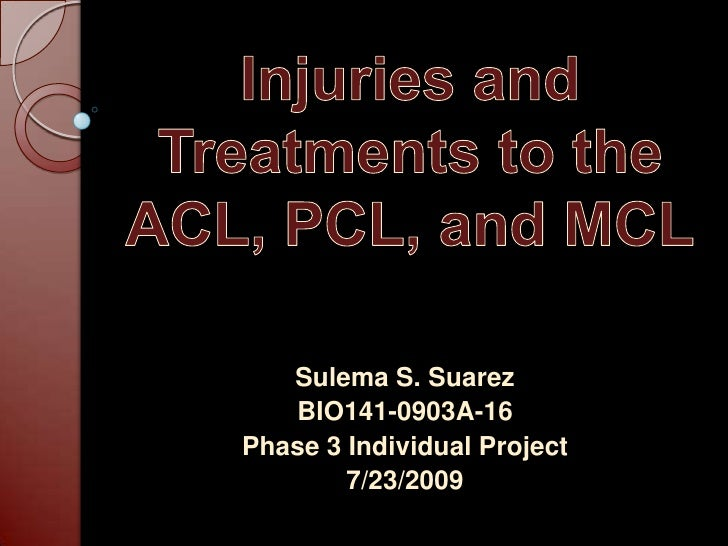 Injuries and Treatments to the ACL, PCL, and MCL<br />Sulema S. Suarez<br />BIO141-0903A-16<br />Phase 3 Individual Projec...