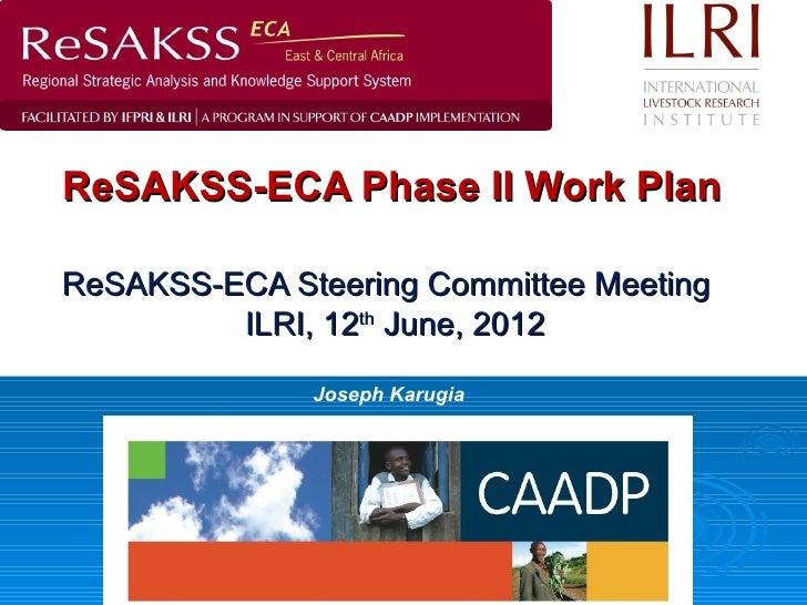 ReSAKSS-ECA Phase II Work PlanReSAKSS-ECA Steering Committee Meeting         ILRI, 12th June, 2012              Joseph Kar...