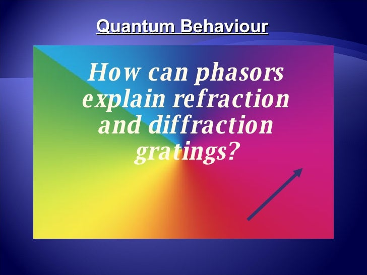 How can phasors explain refraction and diffraction gratings? Quantum Behaviour