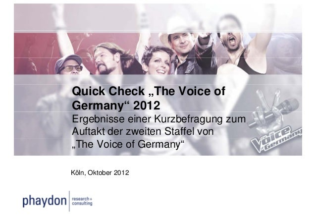 """Quick Check """"The Voice ofGermany"""" 2012       yErgebnisse einer Kurzbefragung zumAuftakt der zweiten Staffel von""""The Voice ..."""