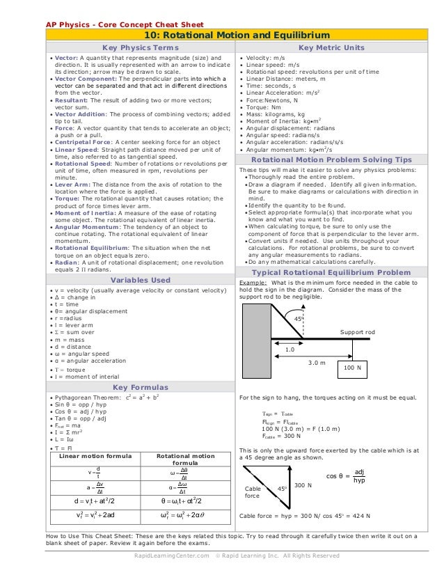 Rotational Motion & Equilibrium cheat sheet