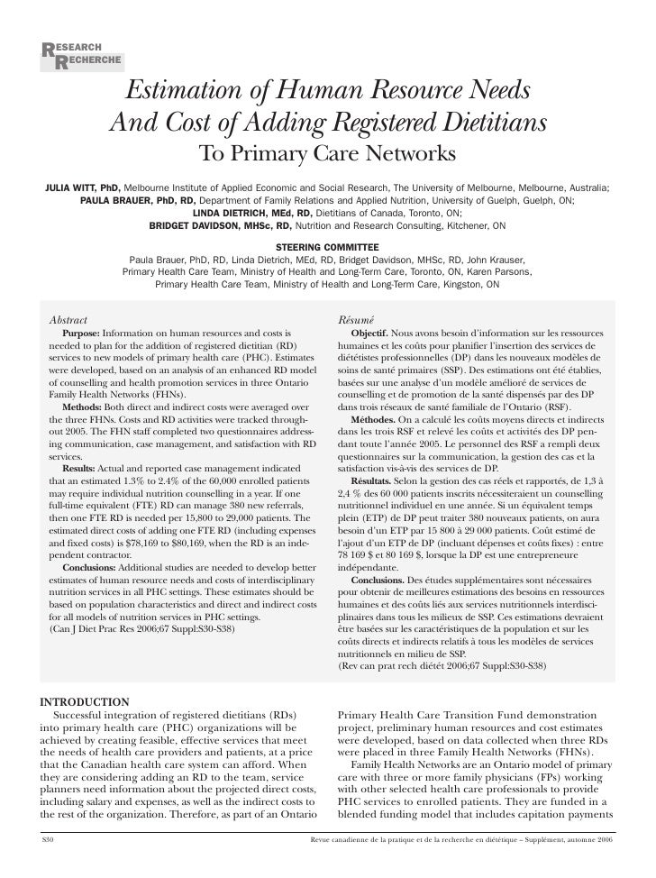 Phc Estimation Human Resource Needs