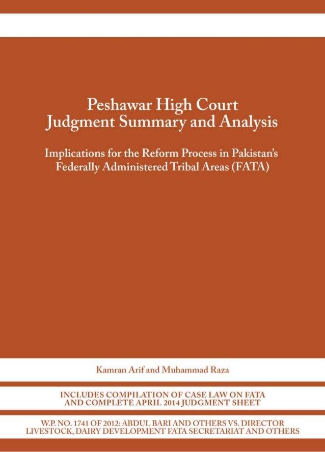 Peshawar High Court FATA Judgment Analysis (2014)