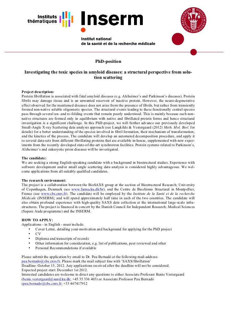 PhD-position Investigating the toxic species in amyloid diseases: a structural perspective from solu-                     ...