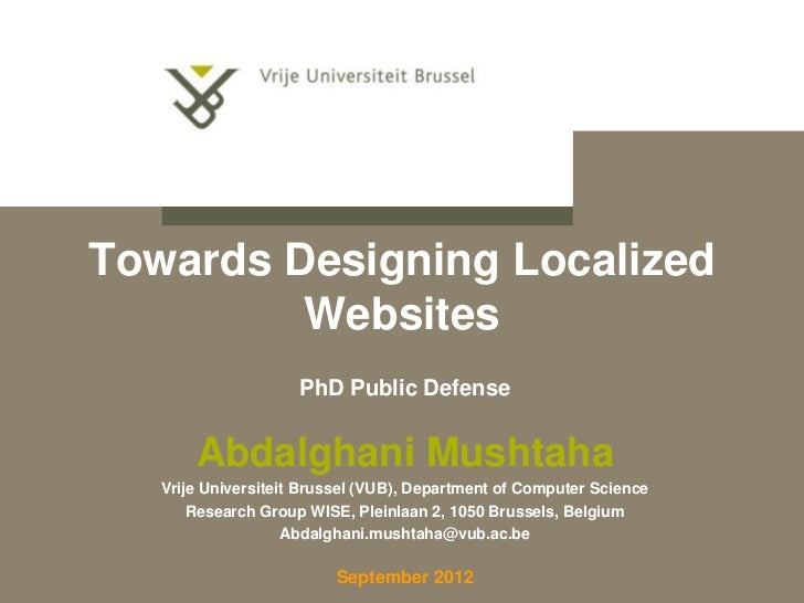 Towards Designing Localized         Websites                     PhD Public Defense       Abdalghani Mushtaha   Vrije Univ...