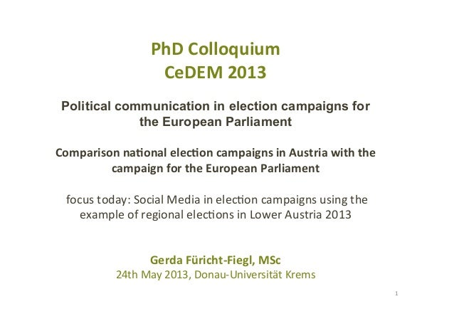 PhD	  Colloquium	  CeDEM	  2013	  Political communication in election campaigns forthe European Parliament	  Comparison	  ...
