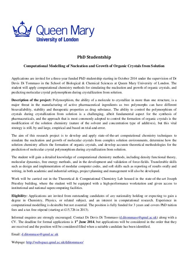 PhD Studentship Computational Modelling of Nucleation and Growth of Organic Crystals from Solution Applications are invite...