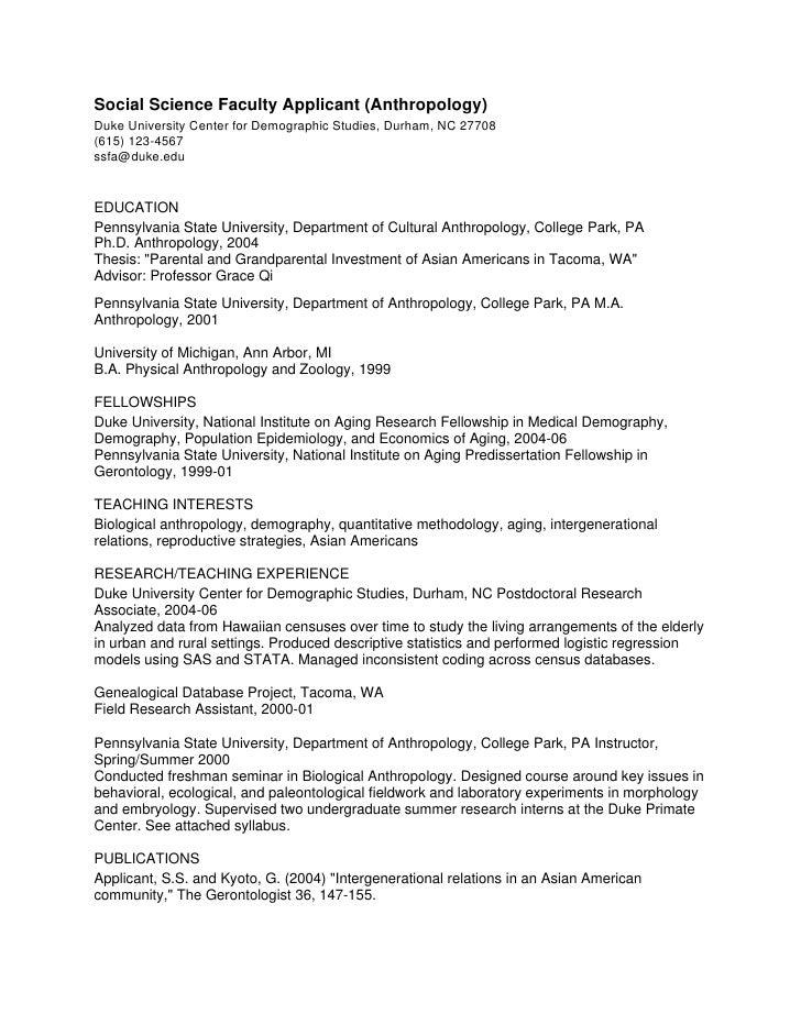 phd cv  anthropology faculty
