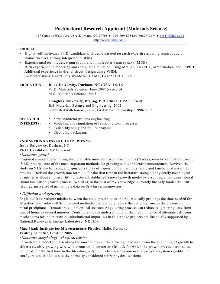 phd cv postdoctoral research
