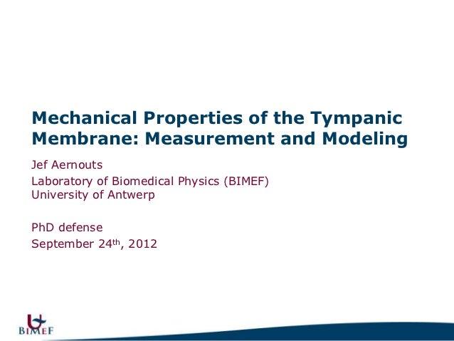 Mechanical Properties of the TympanicMembrane: Measurement and ModelingJef AernoutsLaboratory of Biomedical Physics (BIMEF...