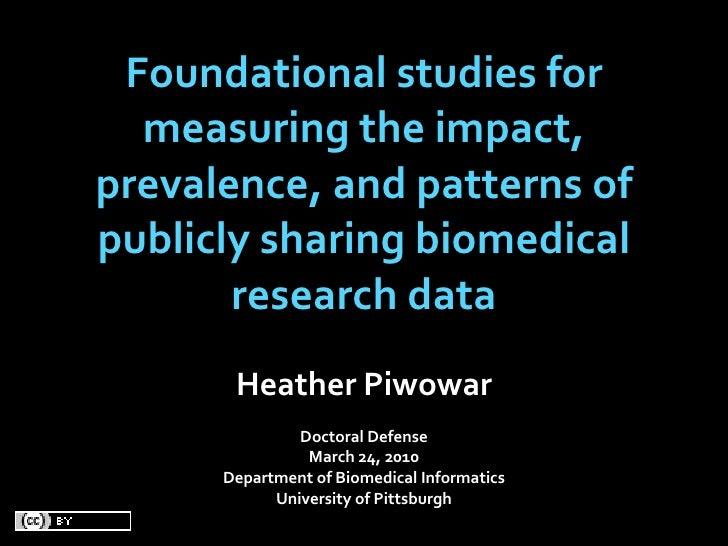 Thesis defense, Heather Piwowar, Sharing biomedical research data
