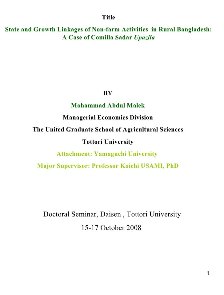 Title State and Growth Linkages of Non-farm Activities  in Rural Bangladesh: A Case of Comilla Sadar  Upazila BY Mohammad ...