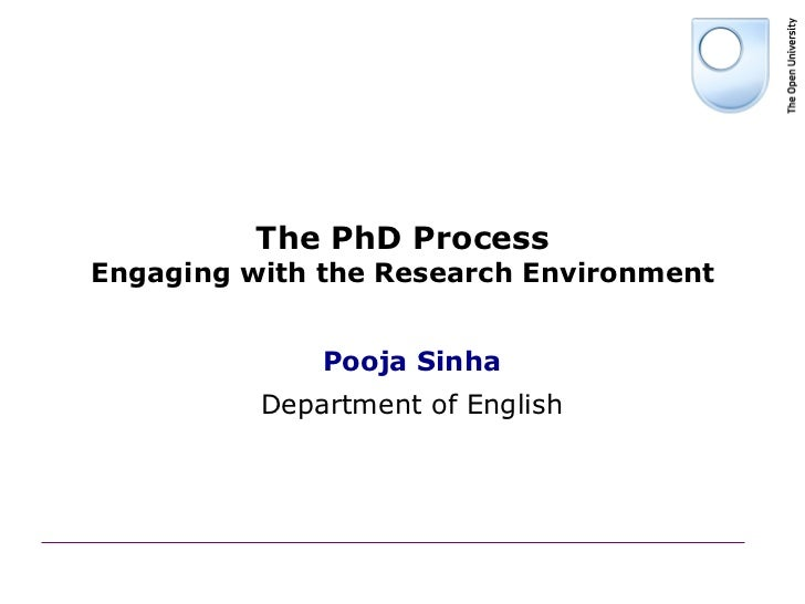 The PhD ProcessEngaging with the Research Environment              Pooja Sinha          Department of English