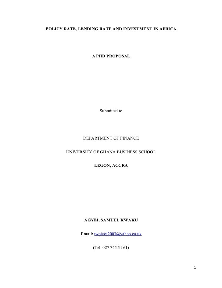 Policy Rate, Lending Rate and Investment in Africa - A Phd proposal for defense