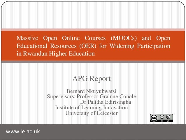 Massive Open Online Courses (MOOCs) and Open Educational Resources (OER) for Widening Participation in Rwandan Higher Educ...