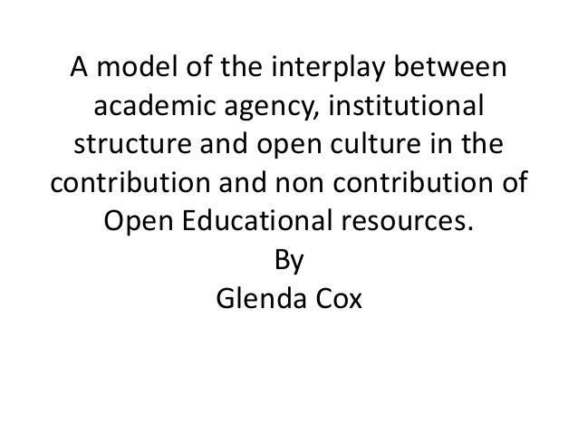 A model of the interplay between academic agency, institutional structure and open culture in the contribution and non contribution of Open Educational resources