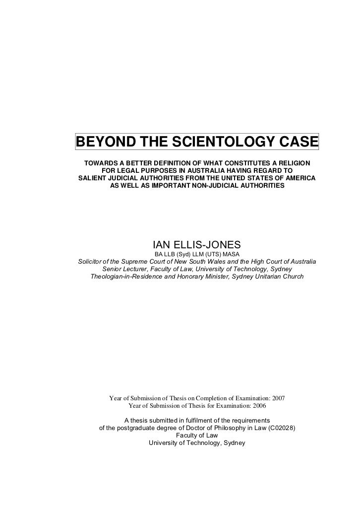 BEYOND THE SCIENTOLOGY CASE TOWARDS A BETTER DEFINITION OF WHAT CONSTITUTES A RELIGION      FOR LEGAL PURPOSES IN AUSTRALI...