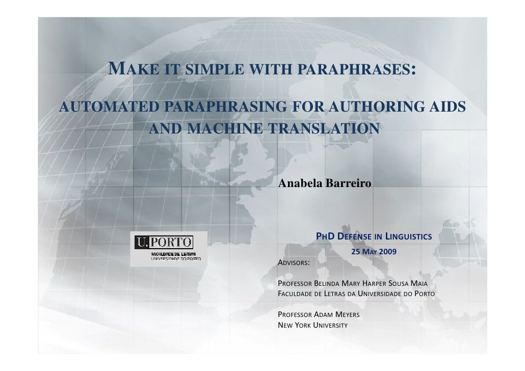 machine translation thesis