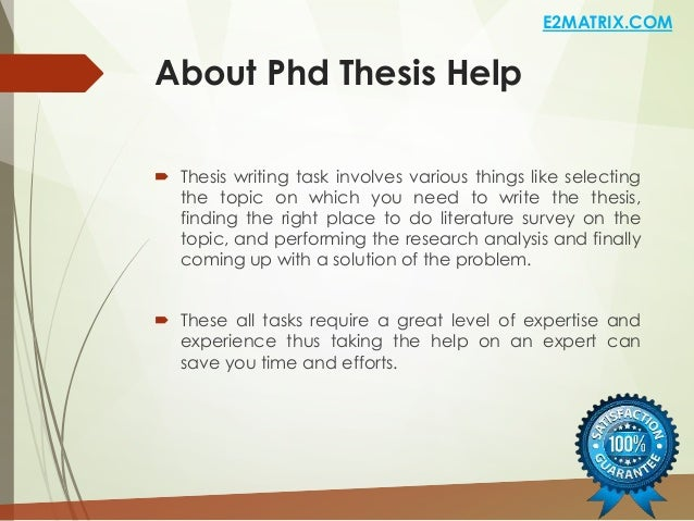 Help for phd thesis