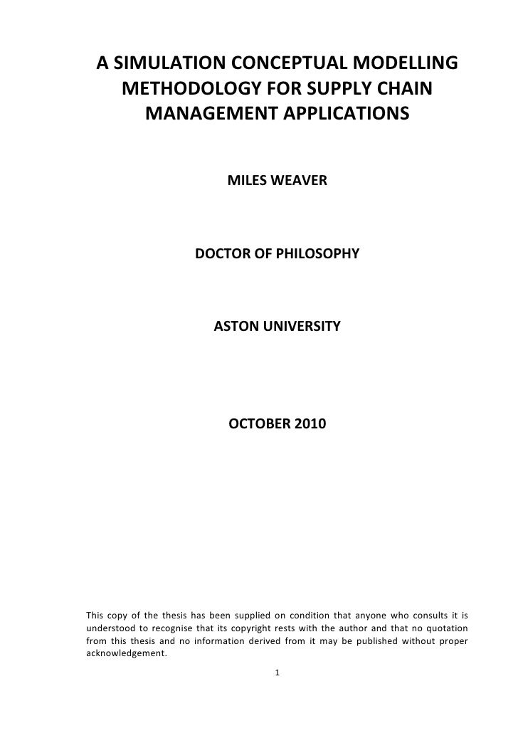 A SIMULATION CONCEPTUAL MODELLING     METHODOLOGY FOR SUPPLY CHAIN       MANAGEMENT APPLICATIONS                          ...